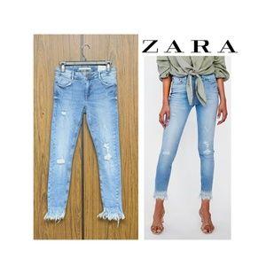 NWT Zara Damaged Skinny Jeans Frayed Hem Damaged